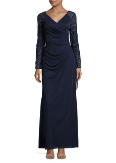 ALEX EVENINGS Beaded Ruched Gown