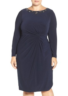 Alex Evenings Beaded Twist Front Sheath Dress (Plus Size)