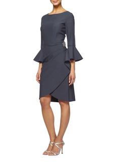 Alex Evenings Bell-Sleeve Mock-Wrap Sheath Dress