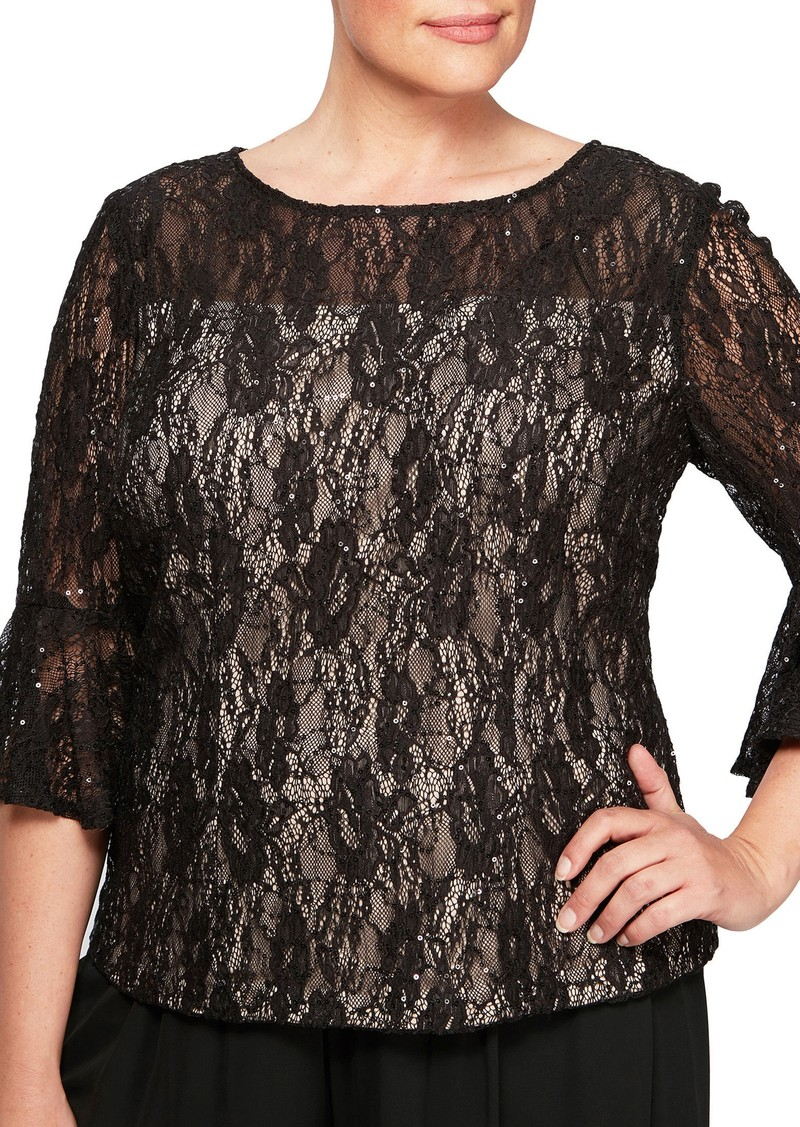 e153cd45f88173 Alex Evenings Alex Evenings Bell Sleeve Sequin Lace Blouse (Plus ...