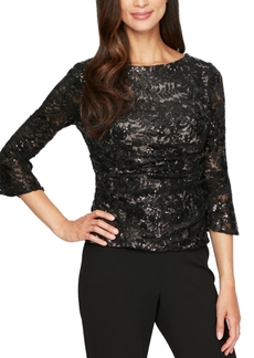 Alex Evenings Bell-Sleeve Sequined Lace Blouse