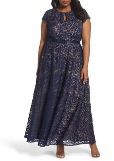 Alex Evenings Belted Lace A-Line Gown (Plus Size)