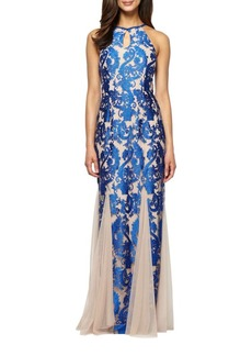 Alex Evenings Brocade Halter Gown