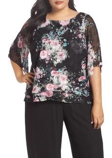 Alex Evenings Burnout Floral Blouse (Plus Size)