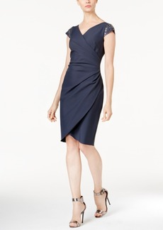 Alex Evenings Cap-Sleeve Draped Sheath Dress