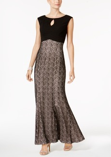 Alex Evenings Cap-Sleeve Metallic Column Gown