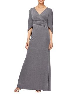 Alex Evenings Cape Sleeve Metallic Twill Gown