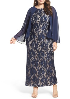 Alex Evenings Capelet Lace Column Gown (Plus Size)
