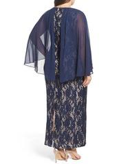 Alex Evenings Capelet Lace Column Gown (Plus Size)