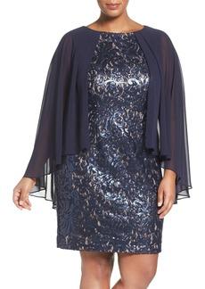 Alex Evenings Capelet Lace Shift Dress (Plus Size)