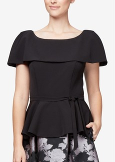 Alex Evenings Capelet Peplum Top