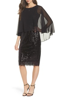 Alex Evenings Capelet Sequin Shift Dress