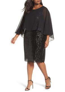 Alex Evenings Capelet Sequin Shift Dress (Plus Size)