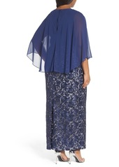 Alex Evenings Chiffon & Embroidered Lace Long Blouson Dress (Plus Size)