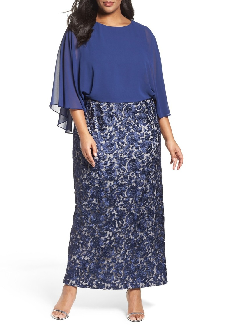 Chiffon & Embroidered Lace Long Blouson Dress (Plus Size)