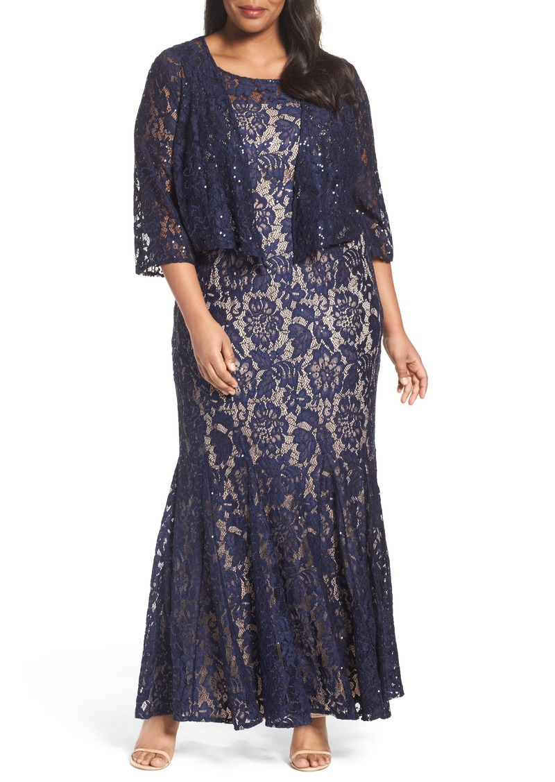 Alex Evenings Chiffon Overlay Long Lace Dress (Plus Size)