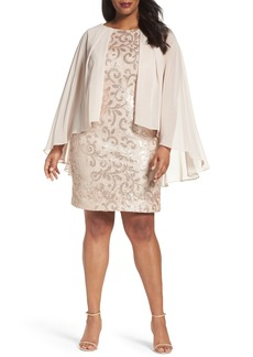 Alex Evenings Chiffon Overlay Sequin Lace Sheath Dress (Plus Size)