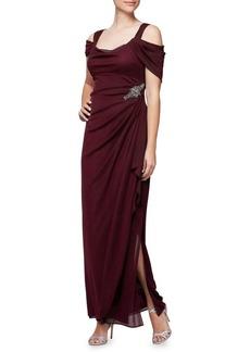 Alex Evenings Cold-Shoulder Embellished Gown