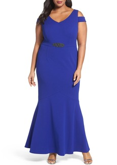 Alex Evenings Cold Shoulder Mermaid Gown (Plus Size)