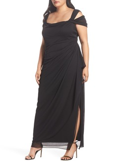 Alex Evenings Cold Shoulder Mesh Gown (Plus Size)
