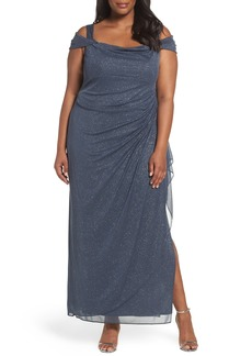 Alex Evenings Cold Shoulder Sheath Gown (Plus Size)