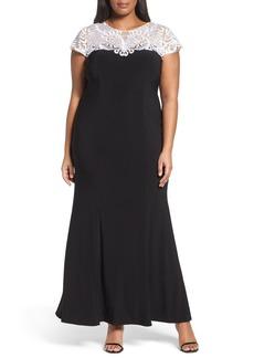 Alex Evenings Colorblock Fit & Flare Gown (Plus Size)