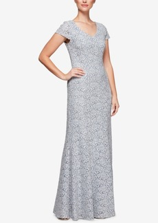 Alex Evenings Corded Floral Lace Gown
