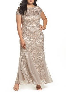 Alex Evenings Cowl Back Embroidered Lace Gown (Plus Size)