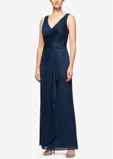 Alex Evenings Cowl-Back Glitter Gown
