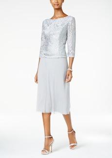 Alex Evenings Cowl-Back Tea-Length Dress