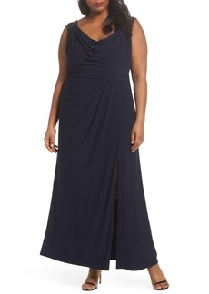 Alex Evenings Cowl Neck A-Line Dress (Plus Size)