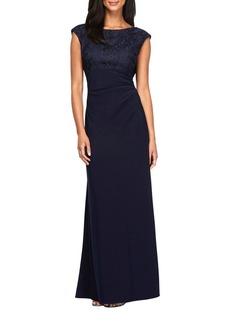 Alex Evenings Cowlback Solid A-Line Gown