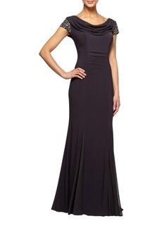 Alex Evenings Cowlneck Long Fit-&-Flare Dress