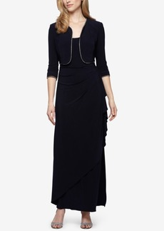 Alex Evenings Draped Bead-Trim Dress and Jacket