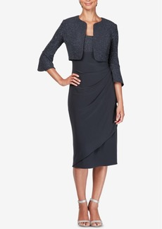 Alex Evenings Draped Midi Dress & Bolero Jacket