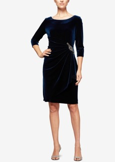Alex Evenings Draped Velvet Sheath Dress