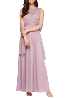 Alex Evenings Embellished A-Line Dress with Shawl