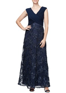 Alex Evenings Embellished A-Line Gown (Regular & Petite)