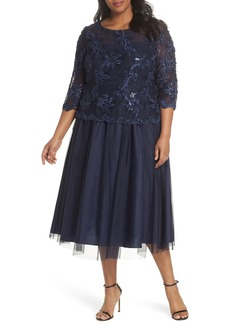 Alex Evenings Embellished Bodice Tea Length Mesh Dress (Plus Size)