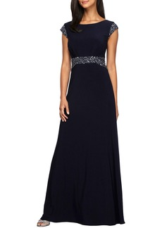 Alex Evenings Embellished Cap Sleeve A-Line Gown