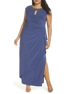 Alex Evenings Embellished Cap Sleeve Gown (Plus Size)