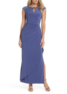 Alex Evenings Embellished Cap Sleeve Gown (Regular & Petite)