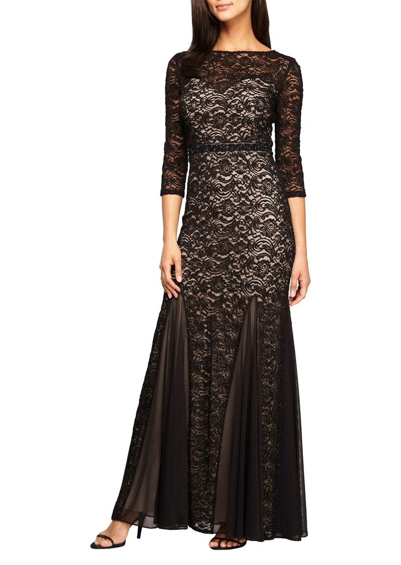 Alex Evenings Embellished Chiffon Inset Lace Mermaid Gown