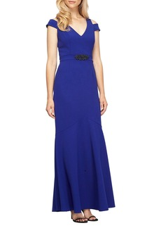 Alex Evenings Embellished Cold Shoulder Gown (Regular & Petite)