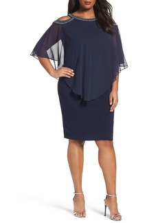 Alex Evenings Embellished Cold Shoulder Overlay Cocktail Dress (Plus Size)