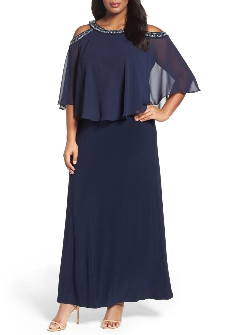 Alex Evenings Embellished Cold Shoulder Popover Gown (Plus Size)