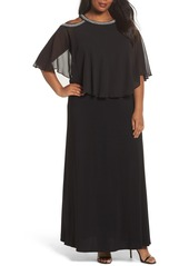 Alex Evenings Embellished Cold Shoulder Popover Gown (Plus Size)