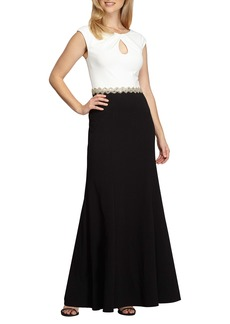 Alex Evenings Embellished Colorblock Gown