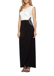 ALEX EVENINGS Embellished Colorblocked Sheath Gown