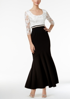 Alex Evenings Embellished Contrast Trumpet Gown